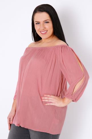 Rose Pink Cold Shoulder Crinkle Gypsy Top 130040