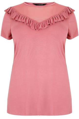 Rose Pink Jersey T-Shirt With Mesh Frill Yoke