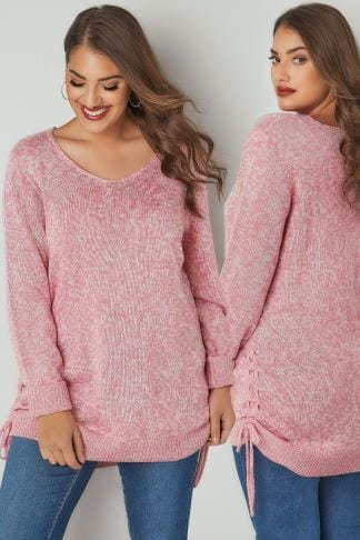 Jumpers Rose Pink Knitted V-Neck Jumper With Lace Up Sides 124158