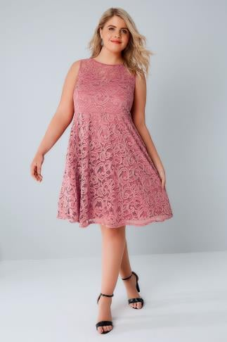 Rose Pink Lace Skater Dress With Sweetheart Neckline 136104