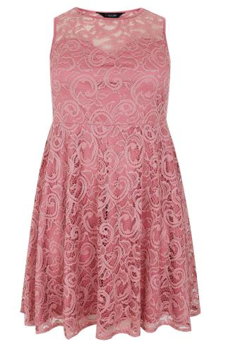 Rose Pink Lace Skater Dress With Sweetheart Neckline
