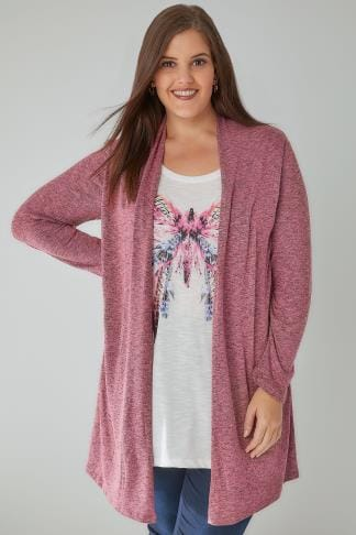 2 In 1 Tops Rose Pink & Multi 2 In 1 Fine Knit Cardigan & Butterfly Print Top 132221