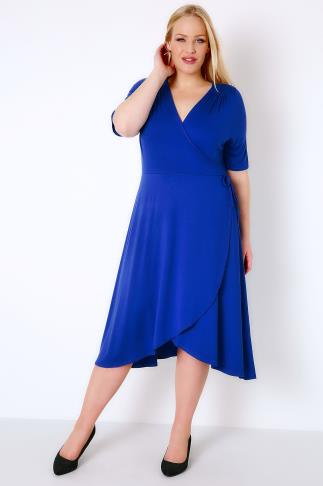 Royal Blue Wrap Dress With Short Sleeves