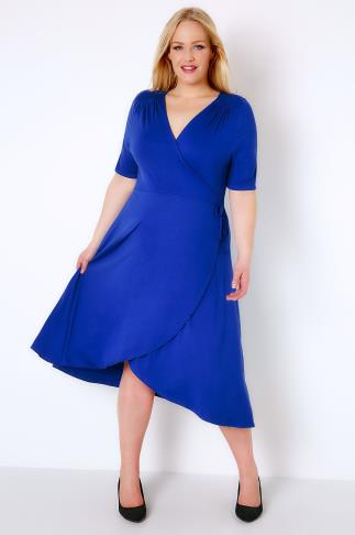 Royal Blue Wrap Dress With Short Sleeves 156092