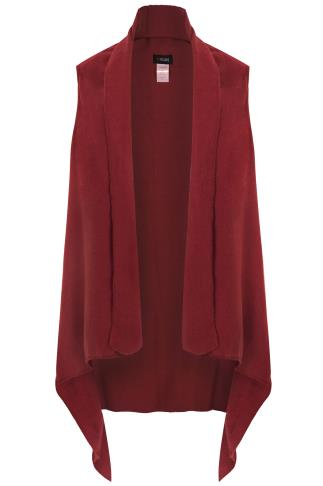 Rust Red Textured Sleeveless Wrap
