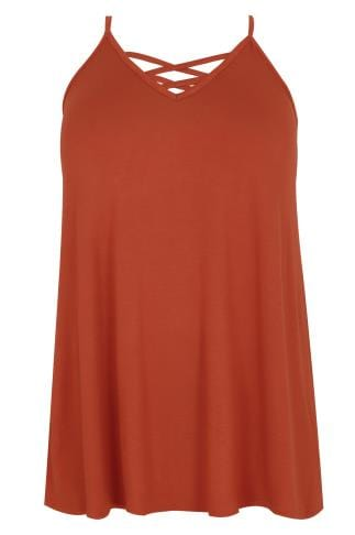 Rust V-Neck Cami Vest Top With Cross Front Detail