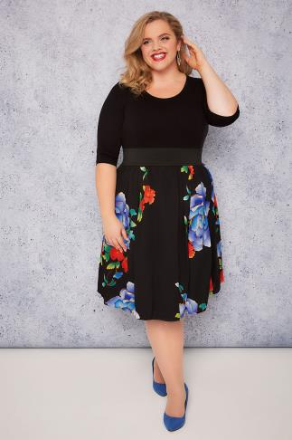 SCARLETT & JO Black & Blue Floral Print 2 in1 Dress