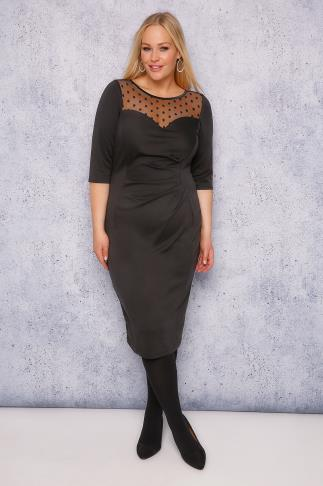 SCARLETT & JO Black Bodycon Dress With Sweet Heart Neckline