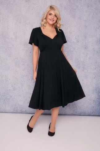 Black Dresses SCARLETT & JO Black Fit & Flare Dress With Waist Tie 138539