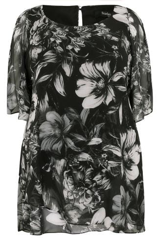 SCARLETT & JO Black Floral Print Split Sleeve Longline Top With Asymmetrical Hem