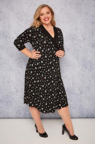 SCARLETT & JO Black Floral Wrap Dress With Collar Detail
