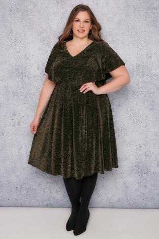 SCARLETT & JO Black & Gold Sparkle Dress With Angel Sleeves