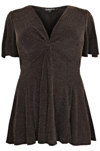 SCARLETT & JO Black & Gold Sparkle Knot Top