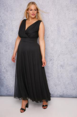 SCARLETT & JO Black Marilyn Wrap Front Maxi Dress