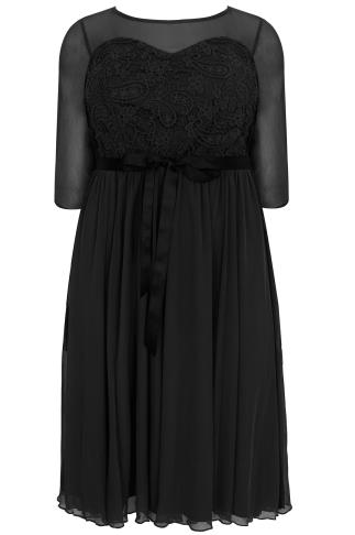 SCARLETT & JO Black Mesh & Lace Dress With Waist Tie