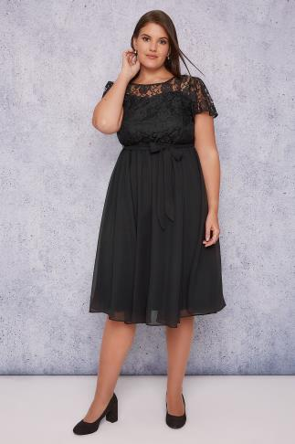 SCARLETT & JO Black Midi Dress With Lace Top & Pleated Skirt 138409