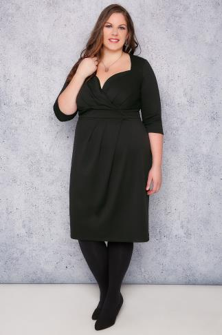SCARLETT & JO Black Midi Wrap Dress