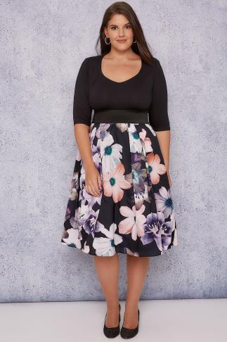 SCARLETT & JO Black & Multi 2 In 1 Dusty Floral Dress 138161