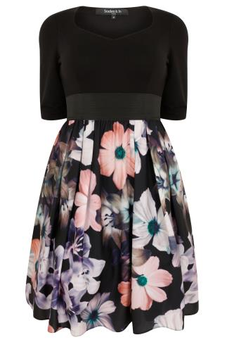 SCARLETT & JO Black & Multi 2 In 1 Dusty Floral Dress