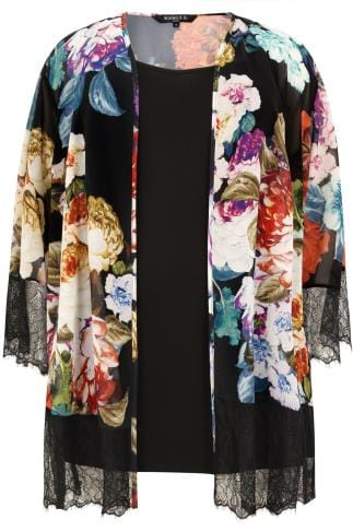 SCARLETT & JO Black & Multi 2 In 1 Floral Lace Kimono & Cami Top