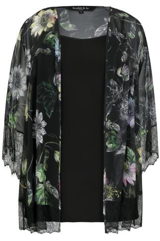 SCARLETT & JO Black & Multi 2 In 1 Printed Lace Kimono & Cami Top