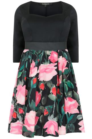 SCARLETT & JO Black & Multi 2 in 1 Rose Print Dress