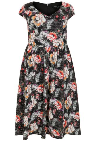 SCARLETT & JO Black & Multi Coloured Floral Print Midi Dress