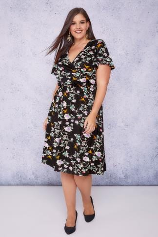 Midi Dresses SCARLETT & JO Black & Multi Floral Bird Wrap Front Midi Tea Dress 138673