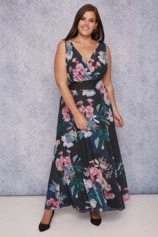 Maxi Dresses SCARLETT & JO Black & Multi Floral Marilyn Wrap Front Maxi Dress 138199