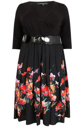 SCARLETT & JO Black & Multi Floral Print 2 In 1 Ballerina Wrap Dress