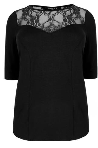 SCARLETT & JO Black Panelled Top With Lace Cut Out