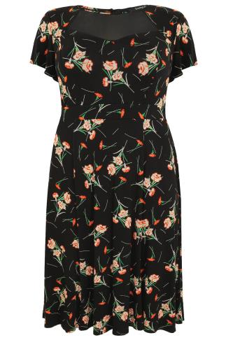 SCARLETT & JO Black & Red Floral Midi Dress