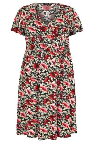SCARLETT & JO Black & Red Floral Wrap Front Midi Tea Dress