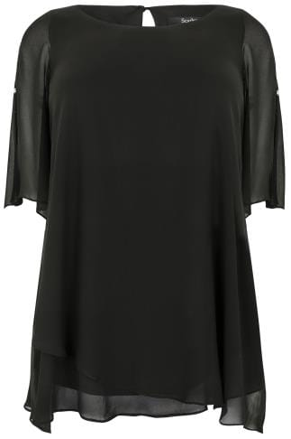 SCARLETT & JO Black Split Sleeve Longline Top With Asymmetrical Hem