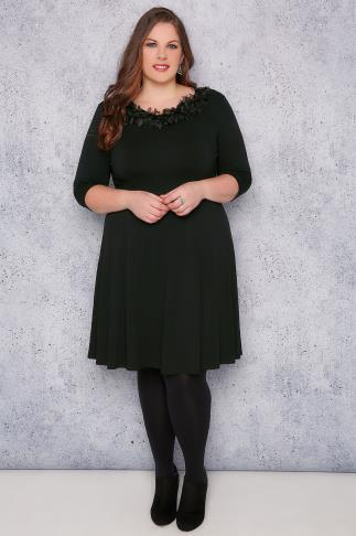 SCARLETT & JO Black Swing Dress With Leaf Fabric Collar