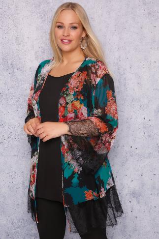 SCARLETT & JO Black, Teal & Multi 2 in 1 Printed Lace Kimono & Cami Top