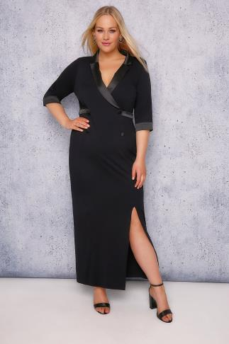 SCARLETT & JO Black Tuxedo Jersey Maxi Dress