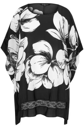 SCARLETT & JO Black & White Floral Oversized Longline Top With Lace Panels
