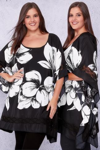Longline Tops SCARLETT & JO Black & White Floral Oversized Longline Top With Lace Panels 138719