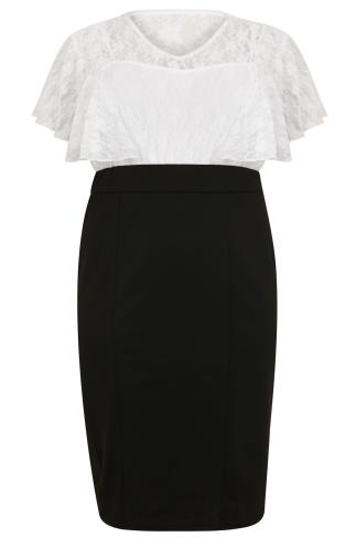 SCARLETT & JO Black & White Midi Dress With Lace Overlay