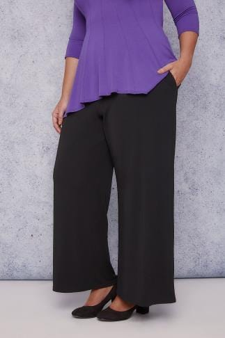 Wide Leg & Palazzo Trousers SCARLETT & JO Black Wide Leg Trousers 138621