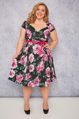 SCARLETT & JO Black Wrap Dress With Pink Rose Pattern & Tie Waist
