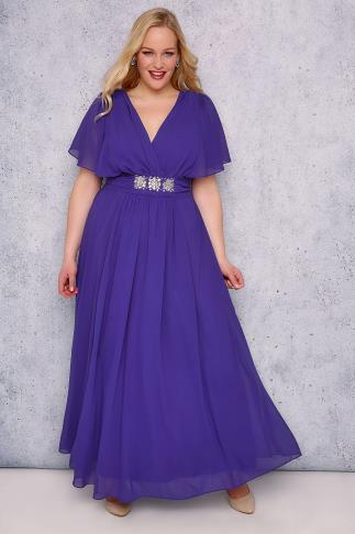 SCARLETT & JO Blue Chiffon Maxi Dress With Embellished Waist Tie