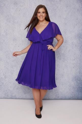 Midi Dresses SCARLETT & JO Blue Chiffon Pleat Skirt Midi Dress With Cape Detail 138618