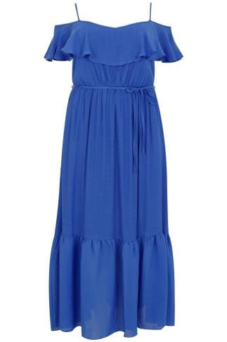 SCARLETT & JO Blue Cold Shoulder Frill Maxi Dress