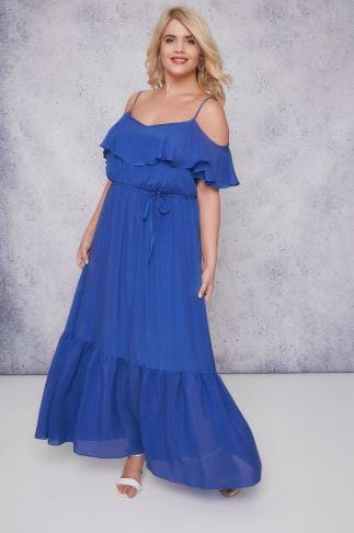 Maxikleider SCARLETT & JO Blue Cold Shoulder Frill Maxi Dress 138665