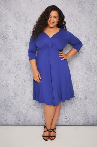 SCARLETT & JO Blue Jersey Midi Dress With Knot Front Detail