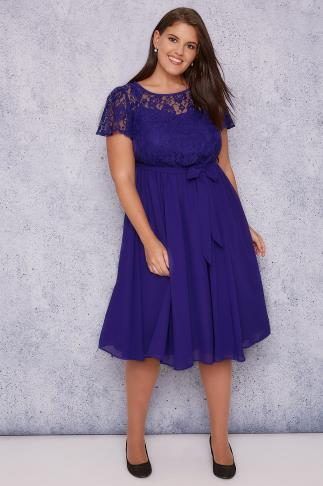 Mi longues SCARLETT & JO Blue Midi Dress With Lace Top & Pleated Skirt 138411