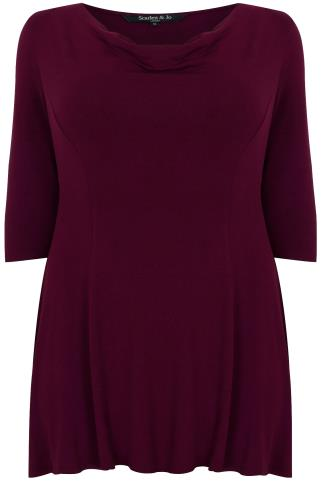 SCARLETT & JO Burgundy Cowl Neck Top With 3/4 Sleeves