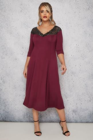 Midi Dresses SCARLETT & JO Burgundy Lace Off-The-Shoulder Midi Jersey Dress 138699